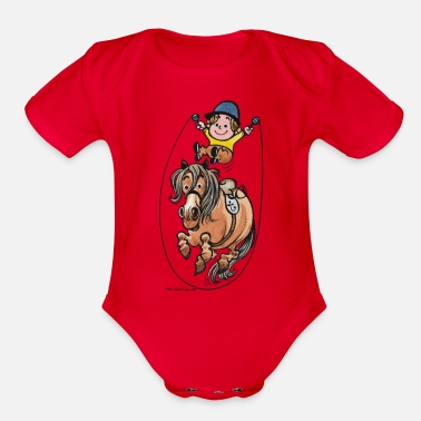 Thelwell Funny Rope Jumping Horse And Rider - Organic Short-Sleeved Baby Bodysuit