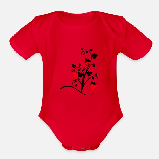 Wine Baby Clothing - wein wine flasche glas bottle barrels glasses134 - Organic Short-Sleeved Baby Bodysuit red