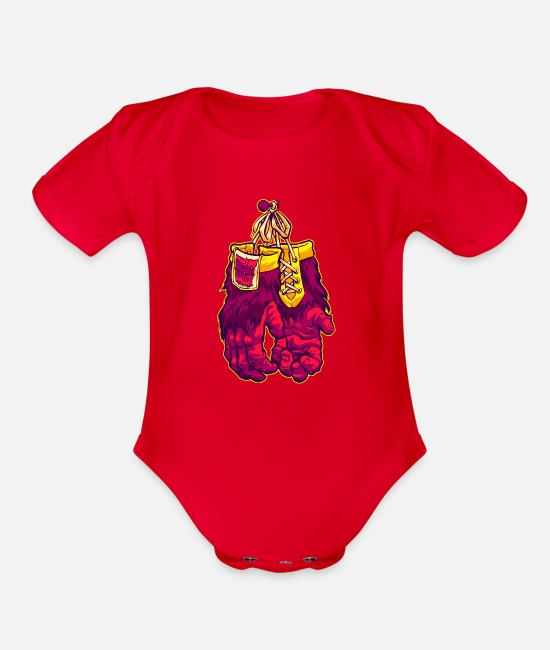 Movie Baby One Pieces - GORILLA GLOVES - Organic Short-Sleeved Baby Bodysuit red