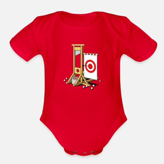 Movie Baby Clothing - Medieval Fairground - Organic Short-Sleeved Baby Bodysuit red