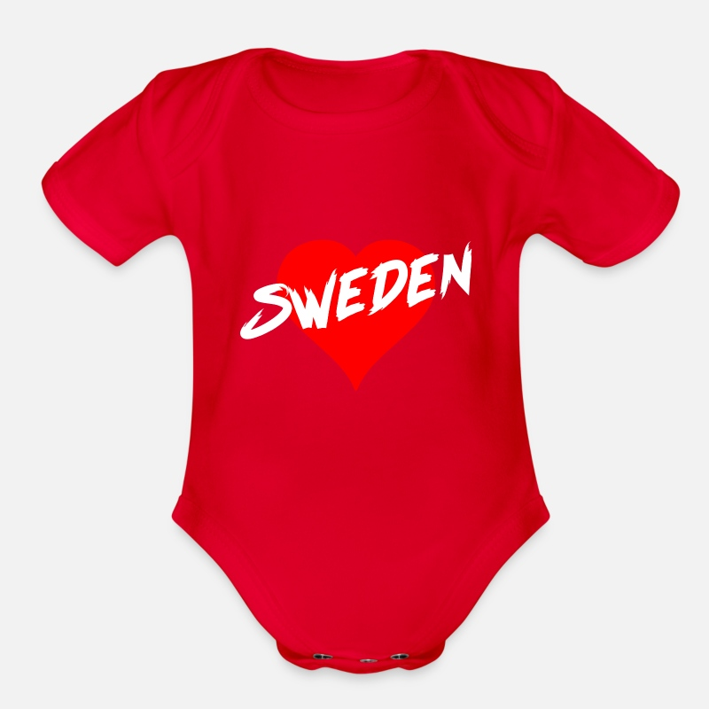 Sweden Baby Clothing - Sweden - Organic Short-Sleeved Baby Bodysuit red