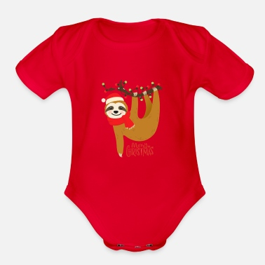 Sloth Merry Christmas sloth - Organic Short-Sleeved Baby Bodysuit