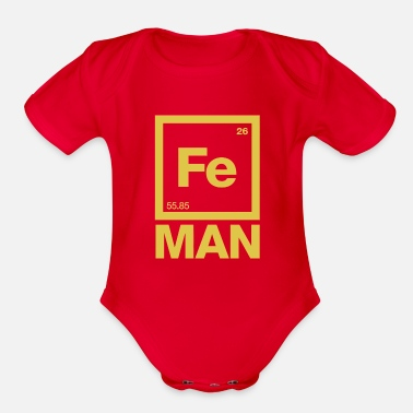 Iron For Ironing Iron Man - Organic Short-Sleeved Baby Bodysuit