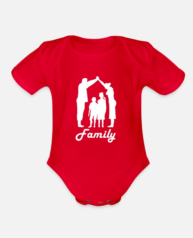 Friendship Baby One Pieces - Families - Organic Short-Sleeved Baby Bodysuit red