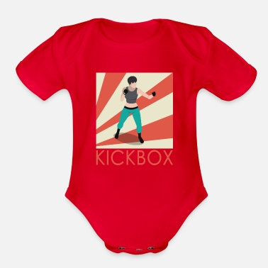 Footer A great design featuring a lady kickboxer on a ba - Organic Short-Sleeved Baby Bodysuit