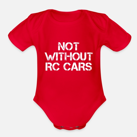 Nothing Baby Clothing - not without rc cars - Organic Short-Sleeved Baby Bodysuit red