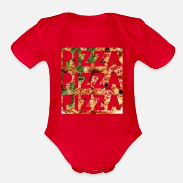 Pizza pizza pizza pizza - Organic Short-Sleeved Baby Bodysuit