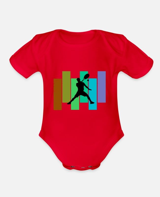 Tennis Baby One Pieces - Tennis with cool stripes - Organic Short-Sleeved Baby Bodysuit red