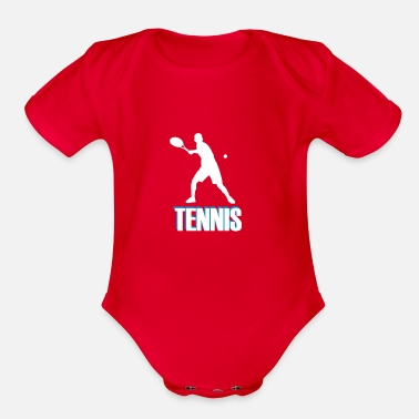 Tennis with colored font - Organic Short-Sleeved Baby Bodysuit