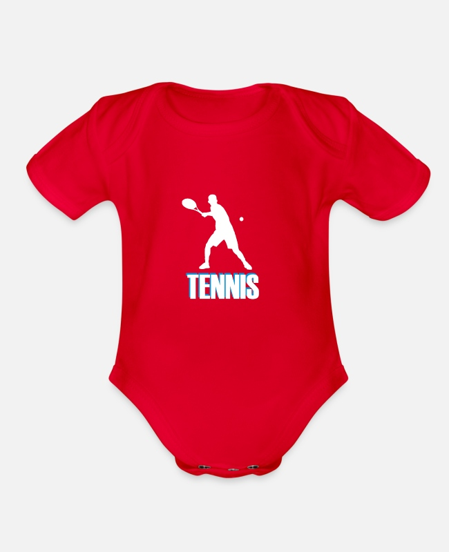 Tennis Baby One Pieces - Tennis with colored font - Organic Short-Sleeved Baby Bodysuit red