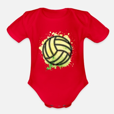 Association Volleyball Symbol Sport Ball - Organic Short-Sleeved Baby Bodysuit