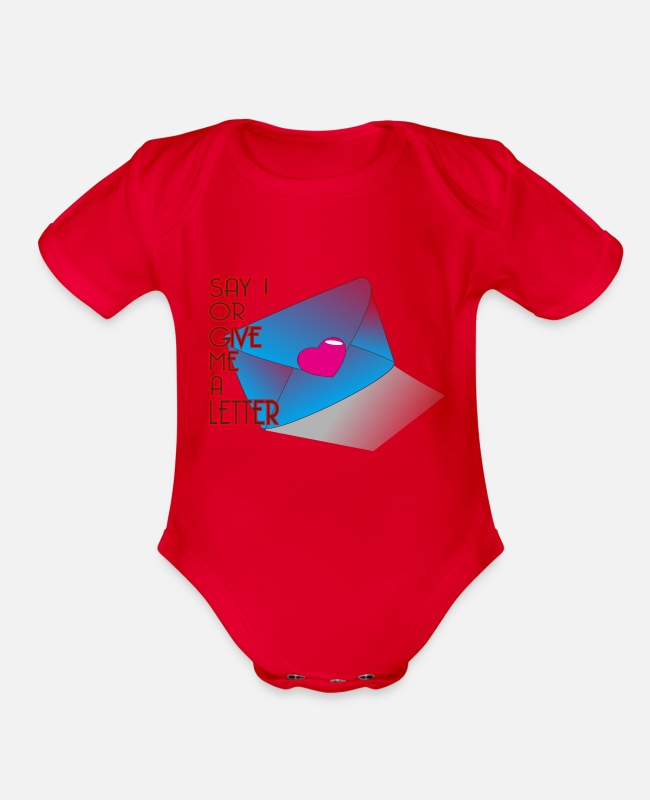 Logbook Baby One Pieces - letter - Organic Short-Sleeved Baby Bodysuit red