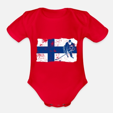 Baltic Sea Finland Suomi Ice Hockey Player Flag Gift Idea - Organic Short Sleeve Baby Bodysuit