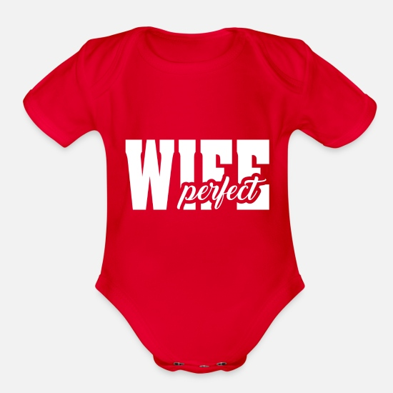 Slave Baby Clothing - Perfect wife - Organic Short-Sleeved Baby Bodysuit red