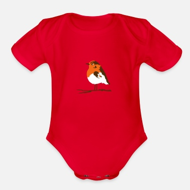 Branch A robin on branch - Organic Short-Sleeved Baby Bodysuit