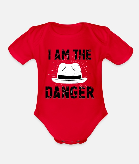 Pollos Baby One Pieces - i am the danger bitch - Organic Short-Sleeved Baby Bodysuit red