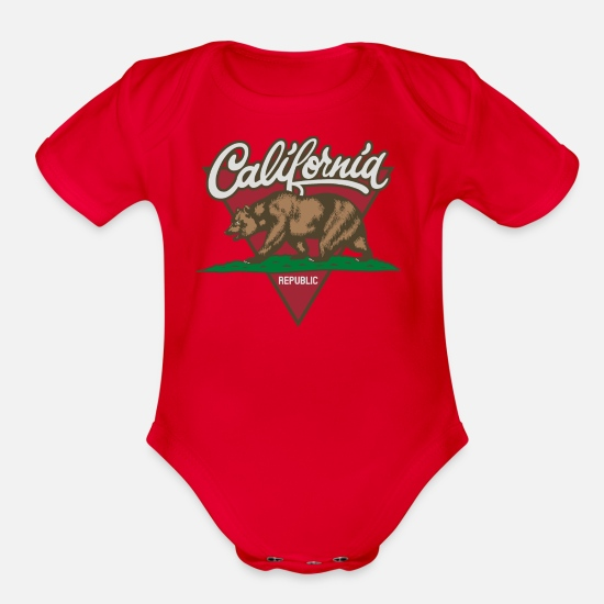 Republic Baby Clothing - California Republic - Organic Short-Sleeved Baby Bodysuit red