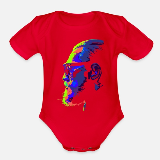 Connor Baby Clothing - notorious neon bulb - Organic Short-Sleeved Baby Bodysuit red