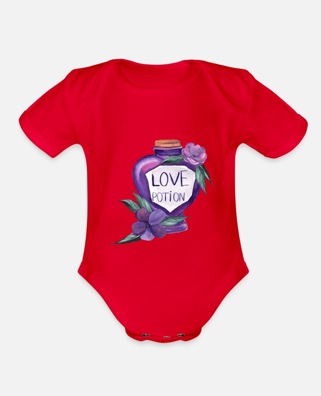 Love Baby One Pieces - Love Potion Halloween - Organic Short-Sleeved Baby Bodysuit red