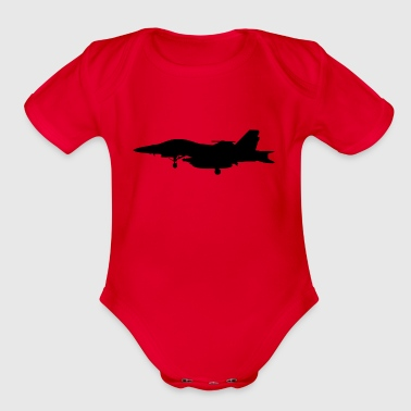 military jet - Organic Short Sleeve Baby Bodysuit