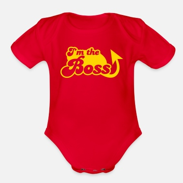 b1064fd3f I'm the Boss! with arrow - Organic Short-Sleeved Baby