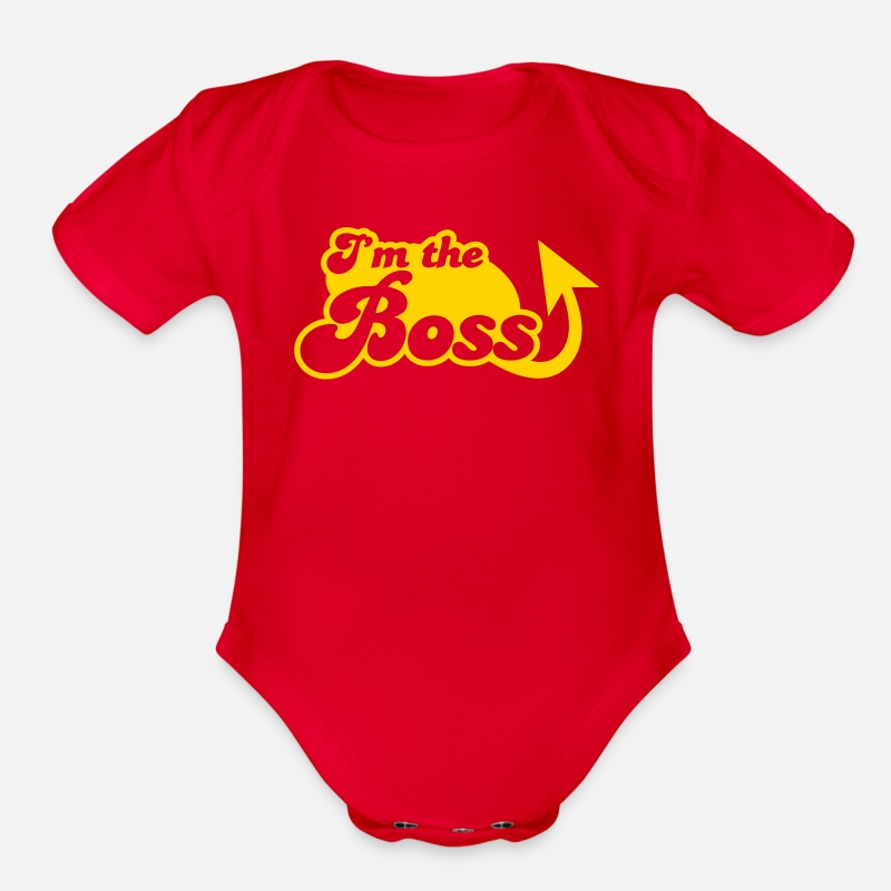 Babyproducts Baby Clothing - I'm the Boss! with arrow - Organic Short-Sleeved Baby Bodysuit red