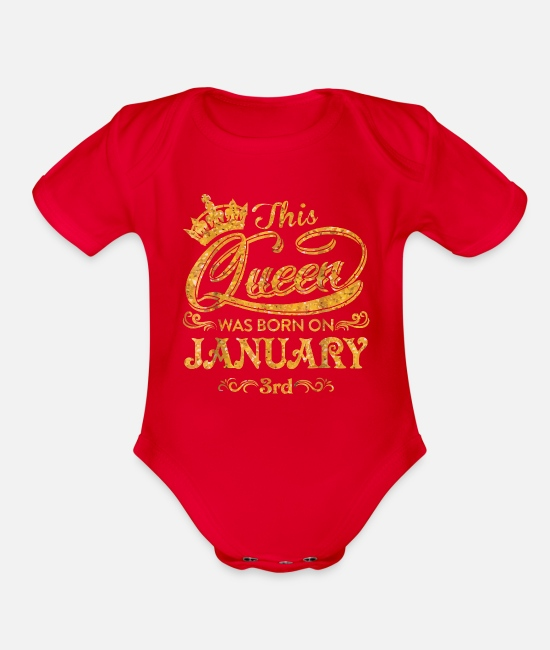 3rd Baby One Pieces - A Queen Born On January 3rd - Organic Short-Sleeved Baby Bodysuit red