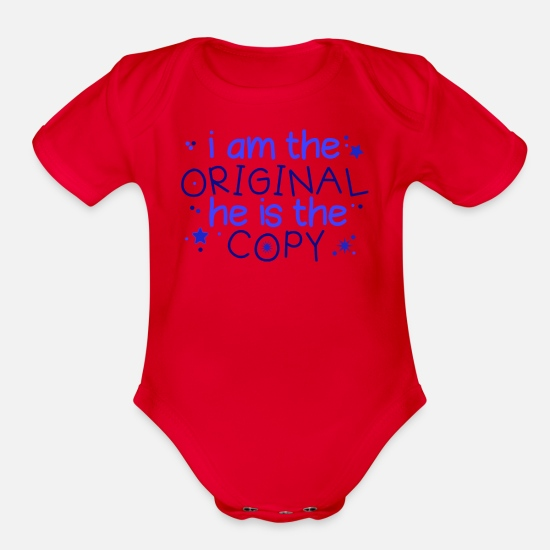 Twin Baby Clothing - Twins Saying - Organic Short-Sleeved Baby Bodysuit red