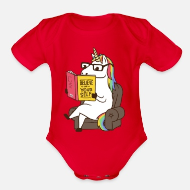 Book Unicorn Believe in Yourself Magical Fabulous - Organic Short-Sleeved Baby Bodysuit