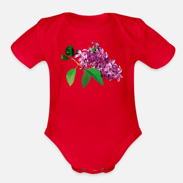 Lilac Small Cluster of Pink Lilacs - Organic Short Sleeve Baby Bodysuit