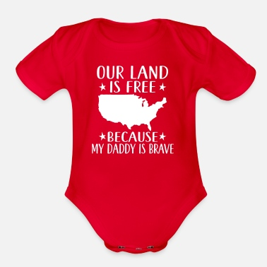 Free Military Daddy Veteran Support Son Daughter - Organic Short-Sleeved Baby Bodysuit