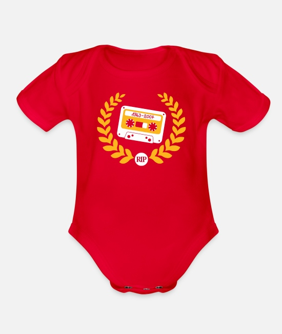 Movie Baby One Pieces - Cassette Taps - Organic Short-Sleeved Baby Bodysuit red