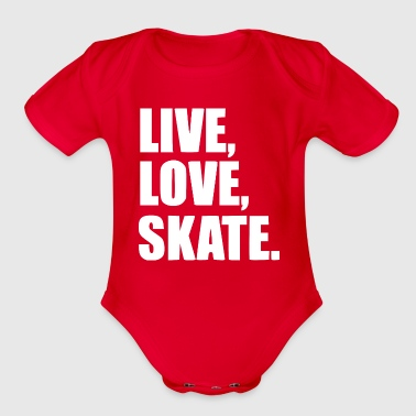Skateboard live love skate white - Organic Short Sleeve Baby Bodysuit