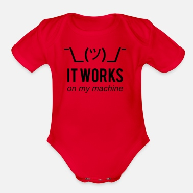 Machine It Works On My Machine - Funny Dev Design Black - Organic Short Sleeve Baby Bodysuit