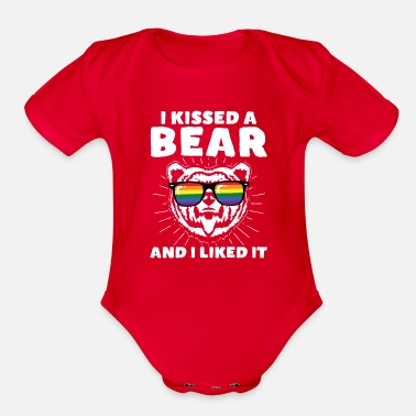 I Kissed A Bear And I Liked It LGBT Gay Pride - Organic Short-Sleeved Baby Bodysuit