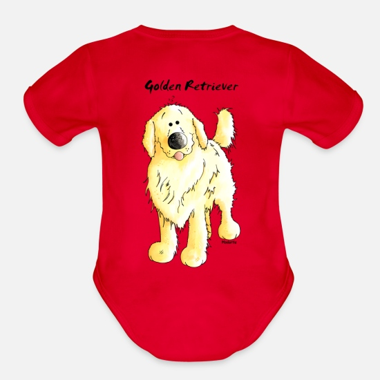 Golden Baby Clothing - Cute Golden Retriever - Organic Short-Sleeved Baby Bodysuit red