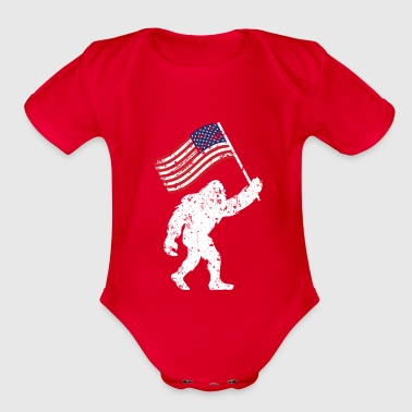 Bigfoot 4th Of July Shirts Flag Patriotic USA - Organic Short Sleeve Baby Bodysuit