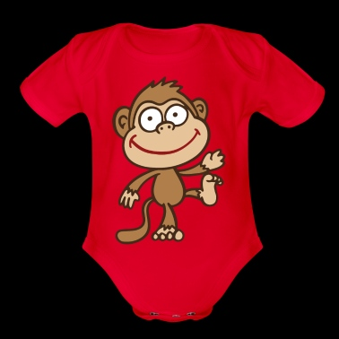 monkey - Organic Short Sleeve Baby Bodysuit