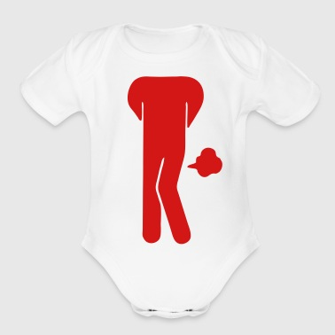 Funny Farting Restrooms / Toilet Sign (Headless) - Short Sleeve Baby Bodysuit
