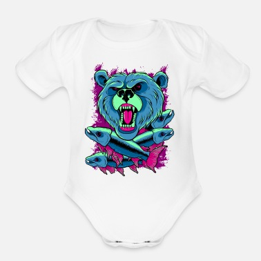 Grizzly grizzly bear - Organic Short Sleeve Baby Bodysuit