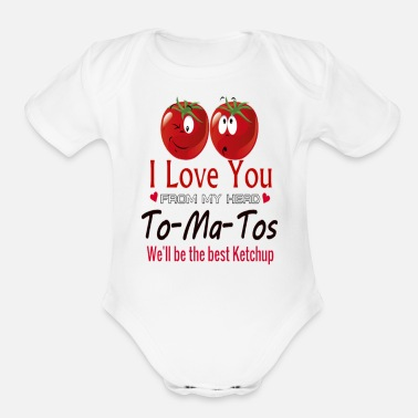 i love you from my head - Organic Short-Sleeved Baby Bodysuit