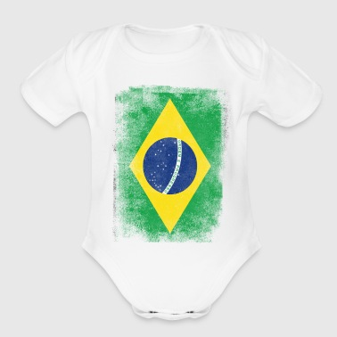 Brazilian Brazil Flag Proud Brazilian Vintage Distressed - Organic Short Sleeve Baby Bodysuit