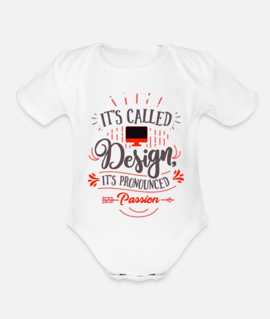 Design Baby One Pieces - New Design - Organic Short-Sleeved Baby Bodysuit white