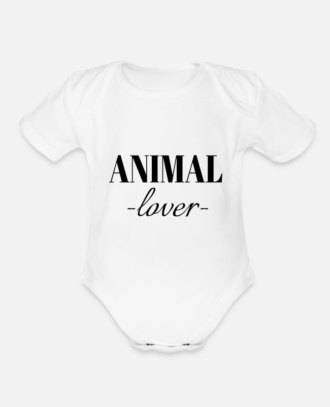 Lovers Baby One Pieces - animal lover - Organic Short-Sleeved Baby Bodysuit white