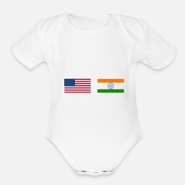 India Half Indian Half American 100% India - Organic Short Sleeve Baby Bodysuit