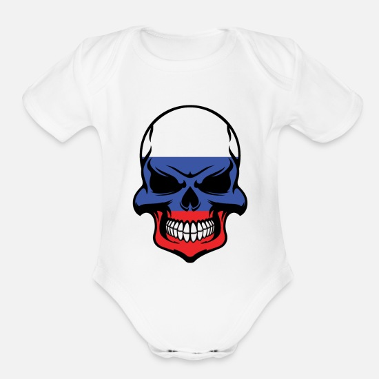 Russian Baby Clothing - Russian Flag Skull Cool Russia Skull - Organic Short-Sleeved Baby Bodysuit white