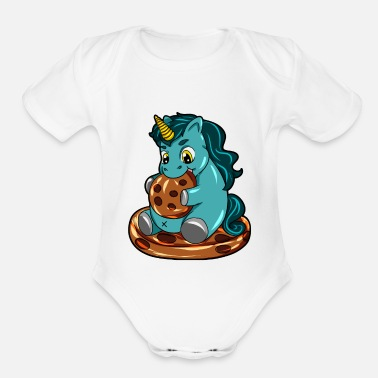 Full Figured Happy Chubby Unicorn full figured cookie - Organic Short-Sleeved Baby Bodysuit