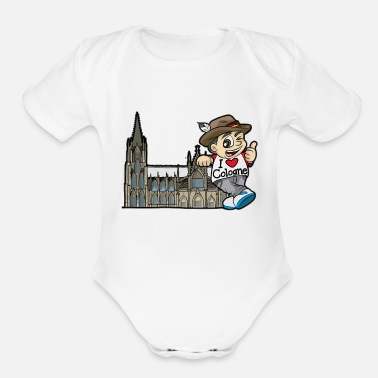 Rhine I LOVE COLOGNE Cathedral Germany Rhine Church - Organic Short-Sleeved Baby Bodysuit