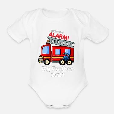Brother Big Brother 2021 Shirt Firetruck - Organic Short-Sleeved Baby Bodysuit