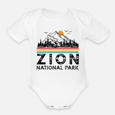 Utah Vintage Zion National Park Retro Utah Mountain - Organic Short-Sleeved Baby Bodysuit